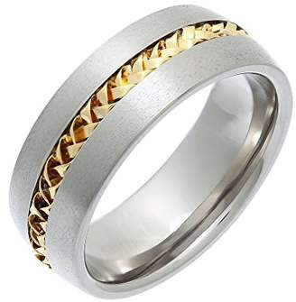 Theia Titanium with 9ct Yellow Gold Twisted Inlay Flat Court Shape 8mm Ring - Size Y