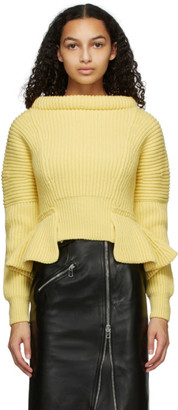 Alexander McQueen Yellow Rib Knit Peplum Sweater