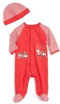 Little Me Infant Boy's Chu Chu Train Holiday Footie & Hat Set