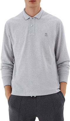 Brunello Cucinelli Men's Spa Pique Tipped Polo Shirt