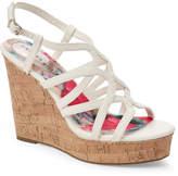 Madden-Girl White Paris Elmaa Cork Platform Wedge Sandals