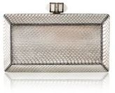 Judith Leiber Coffered Metallic Snakeskin Clutch