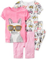 Carter's 4-Pc. Stay Cool Dog Pajama Set, Toddler Girls (2T-4T)