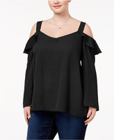 ING Trendy Plus Size Cold-Shoulder Blouse
