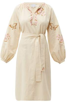 Luisa Beccaria Butterfly-embroidered Cotton-blend Kaftan - Womens - Cream Multi