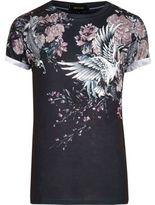 River Island MensBlack Oriental floral print T-shirt