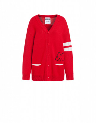 Moschino Mickey Rat Wool Cardigan Woman Red Size L It
