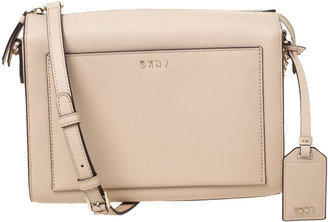 DKNY Beige Leather Front Pocket Shoulder Bag