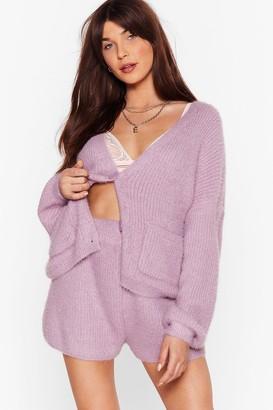 Nasty Gal Womens Hot and Heavy Fluffy Knit Cardigan Loungewear Set - Lavender