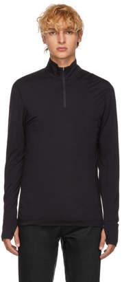 Sunspel Black Merino Zip Neck T-Shirt