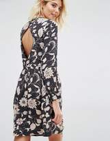 Gat Rimon Moco Open Back Long Sleeve Flower Print Dress