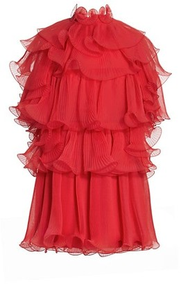 Alberta Ferretti Open Back Ruffle Tier Chiffon Cocktail Dress
