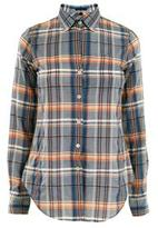 Cotton plaid loose fit shirt