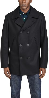 Armor Lux Noir Mid Length Pea Coat