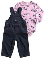 Carhartt Size 4T 2-Piece Washed Canvas Bib Overall Set in Blue/Pink
