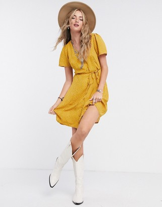 Only mini dress with button front in yellow spot print