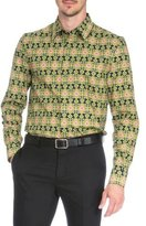 Givenchy Carpet-Print Long-Sleeve Shirt, Green Pattern