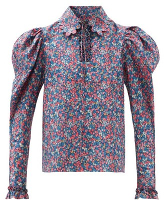 Horror Vacui Coco Floral-print Cotton-poplin Blouse - Blue Multi