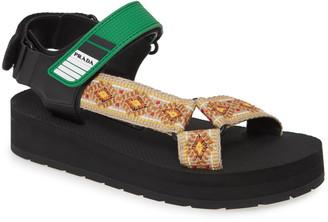 Prada Nomad Embroidered Platform Sport Sandal