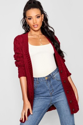 boohoo Cable Knit Cardigan