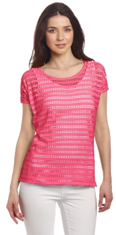 Chaus Women's Double Layer Linear Holes Tee
