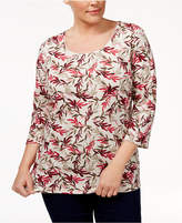 Karen Scott Plus Size Printed Scoop-Neck Top, Created for Macy's