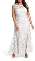 Alex Evenings Plus Size Women's Soutache Stretch Tulle A-Line Gown