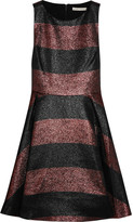 Alice + Olivia Metallic striped woven dress