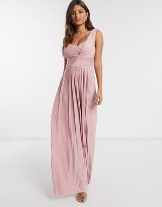 ASOS DESIGN premium one shoulder pleated panel maxi dress in soft pink