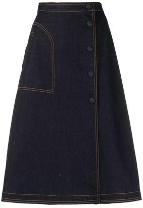 Moncler A-line denim skirt