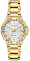 Citizen Eco-Drive Women's Diamond Accent Riva Gold-Tone Stainless Steel Bracelet Watch 30mm