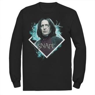 Men's Harry Potter Snape Blue Lightning Character Portrait Long Sleeve Graphic Tee