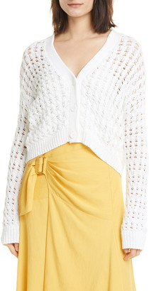 Vince Open Stitch Cable Cotton Cardigan Sweater