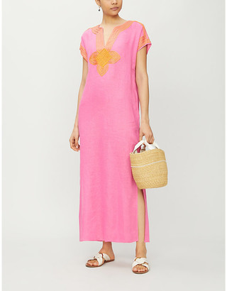 Tory Burch Sleeveless patterned-piping linen kaftan