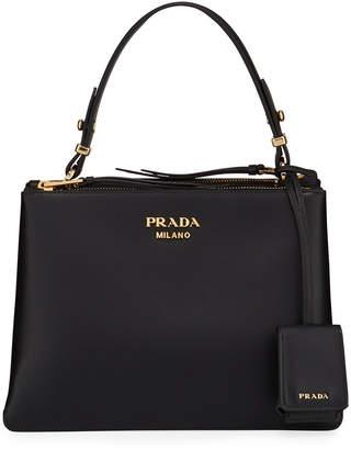 Prada New Calf Double Gusset Shoulder Bag