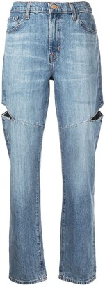 J Brand Mid-Rise Straight-Leg Ripped Jeans