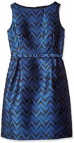 Anne Klein Women's Chevron Jacquard Boat Neck Fit and Flare Dress with Belt