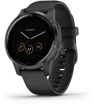 Garmin Unisex vivoactive 4S Black Silicone Strap Touchscreen Smart Watch 40mm