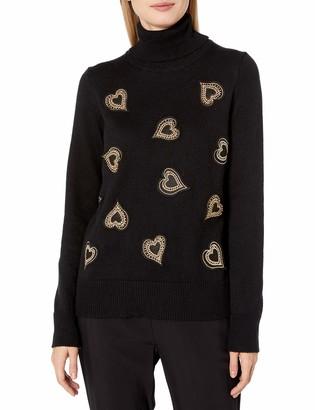 Vince Camuto Women's Heart Embellished Turtleneck Sweater