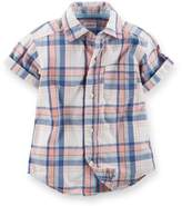 "Carter's Baby Boys' ""Lester"" S/S Button-Down - blue plaid, 18 months"