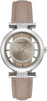 Kenneth Cole New York Women's Crystal Accent Transparent Dial Leather Watch
