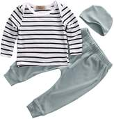 honeys Newborn Baby Girl 3pcs Set Long Sleeve Striped Top+Long Pants+Hat Outfit (S(0-3Months), )