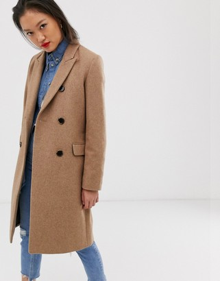 Selected double breasted wool coat in brown