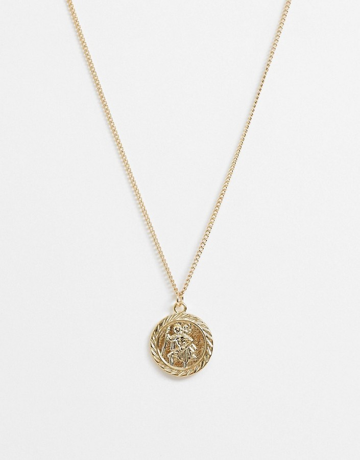 ASOS DESIGN necklace with coin pendant in gold tone
