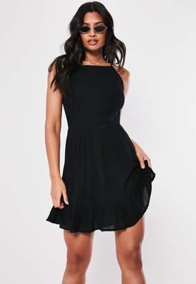 Missguided Black Crinkle Square Neck Skater Dress