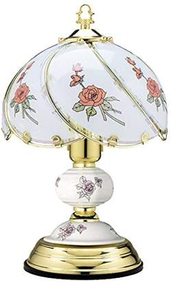 Benross 47640 Red Rose and Polished Brass Screw Fitting Touch Lamp, Glass, E27, 60 W, 14-Inch