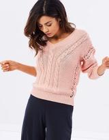 Miss Selfridge Lattice Crochet Cable Jumper