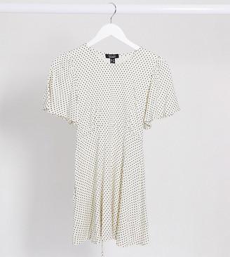 New Look Maternity tie back top in white polka dot