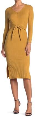 Velvet Torch Long Sleeve Tie Front Ribbed Knit Midi Dress