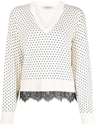 Twin-Set lace-trimmed V-neck jumper